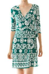 teal print wrap dress $32