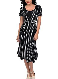 AmazonSmile: SYLVIEY Womens Vintage 1950s Elegant Polka Dot Bow-knot Cocktail Party Dress: Clothing