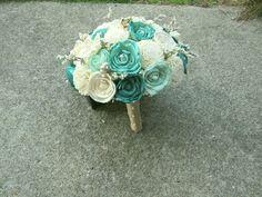 Sola Bouquet, Burlap Bouquet, Teal Green and Mint Wedding Bouquet, Alternative Bouquet, Bouquet, Sola flowers, Wood Bouquet