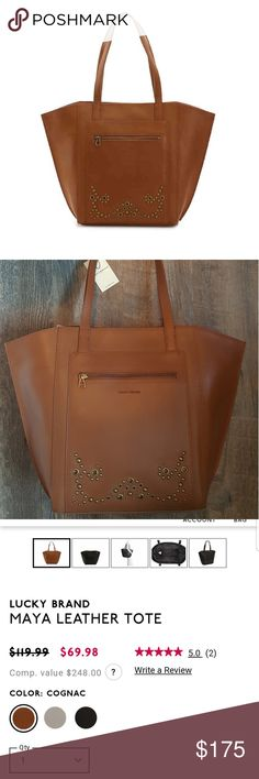 """New Lucky Brand Cognac Maya Leather Tote NWT Lucky Brand Tote  Genuine (Smooth) Leather  Color: Cognac   Grommet and metal stud embellishment  Top magnetic snap closure  Top flat handle with 9"""" drop  1 exterior zip pocket   1 zip and 2 slip interior pockets  Dimensions: 18 3/4"""" L x 4 1/2"""" W x 13"""" H  Fabric lining  New with tags Lucky Brand Bags Totes"""
