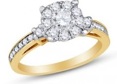14K Yellow and White Two 2 Tone Gold Round Brilliant Cut Diamond Engagement Ring – Prong Set Center with Channel Set Side Stones – Flower Shape Center Setting – (1.00 cttw.)