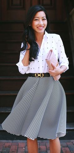 Dots And Stripes Outfit Idea by Extra Petite