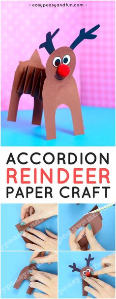 Accordion Paper Reindeer Craft. Fun Christmas Craft Idea for Kids to Make.
