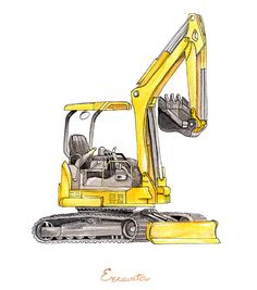 Excavator Backhoe construction watercolor print by FlightsByNumber, $20.00