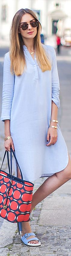Chicnova Tender Blue Western Inspired Over-long Shirt Dress good, i prefer your… More