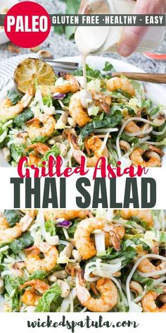 Grilled Asian Thai Salad - This Thai Shrimp Salad packs tons of flavor from fresh herbs and an almond butter Thai dressing. Grilled Asian Thai Salad - This Thai Shrimp Salad packs tons of flavor from fresh herbs and an almond butter Thai dressing. Easy Paleo Dinner Recipes, Paleo Salad Recipes, Shrimp Salad Recipes, Best Paleo Recipes, Seafood Recipes, Easy Meals, Paleo Meals, Whole30 Recipes, Seafood Dishes
