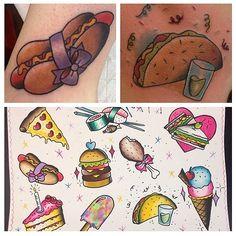 Food Tattoos Food Tattoos, Body Art Tattoos, Small Tattoos, I Tattoo, Tattoo Flash, Tattoo Stencils, Character Drawing, Future Tattoos, Cute Food