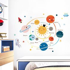 Cartoon solar system planets wall sticker child kids room home decoration mural removable wallpaper bedroom nursery stickers