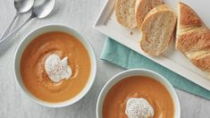 Sweet potato soup Velvety, delicious and oh-so-easy—this soup has it all! Made from just a handful of ingredients and prepped in five minutes, this is the perfect satisfying soup to serve up on busy weeknights. Sweet Potato Soup, Sweet Potato Recipes, Best Winter Soups, Winter Recipes, Best Vegetarian Recipes, Vegetarian Meals, Vegetarian Bowl, Pillsbury Recipes, Soup And Sandwich