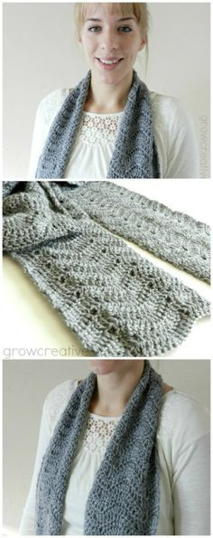 471699f7851ee8 Grey Crochet Chevron Scarf  Free Pattern I like the chevron with just one  color - it adds texture and movement to the fabric