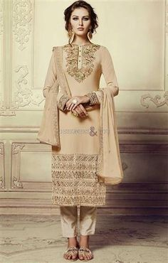 #DesignersAndYou Buy Pretentious Pale Gold #Embroidered #Georgette #StraightPunjabiDress. This #Contemporary #CigaretteShapedPant #Suit Set Acquires Crew Neckline & Full Sleeves.