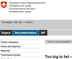 Swiss Confederation - measures of TBTF regulations
