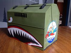 Sign painter sign writer box. Painted with nose art from World War II  Donald Duck. Painted by Runtske Art