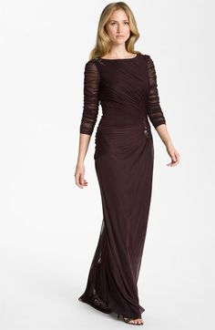 Adrianna Papell Sheer Sleeve Ruched Mesh Gown available at #Nordstrom