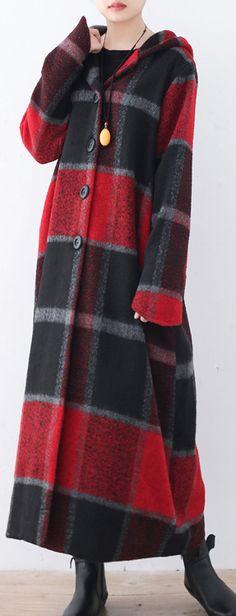 boutique-red-plaid-woolen-coat-Jackets-&-Coats-2017--hooded-long-coats #coat#llongcoat#soolinen