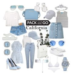 Pack and Go: California by thenewwardrobe on Polyvore featuring polyvore, fashion, style, MANGO, M.i.h Jeans, River Island, Zimmermann, Miss Selfridge, Topshop, Triangl, Lacoste, Miu Miu, Melissa, MICHAEL Michael Kors, Jill-e, Ippolita, Allurez, Accessorize, adidas, Collection XIIX, Ray-Ban and clothing