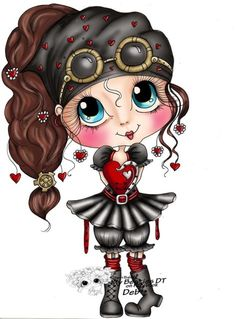 Cute Girl Drawing, Cute Drawings, Besties, Black And White Lines, Doll Painting, Cute Characters, Digi Stamps, Big Eyes, Cute Cartoon