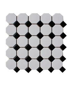 Shapes Octagon Matt White & Black Dot Mosaic