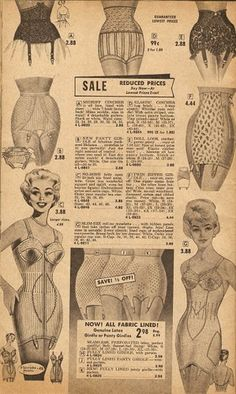 Vintage 1960s shapewear *Male shoppers given special attention - girdles, lingerie. So much to enjoy, men!! prettier than the modern stuff.