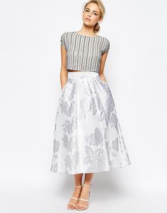 Image 1 of Coast Full Eve Skirt In Floral Jacquard