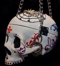 #customskullpurse #candyskull #spiderweb #3D #chains #highendpurse  #white #red #purple #blue #bling #skulls #purse #oneofakind #skullasylum