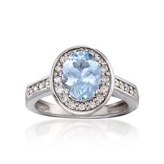 1.20 Carat Aquamarine and .30 ct. t.w. Diamond Ring in 14kt White Gold