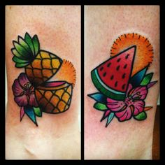 @Tilly Dee little pineapple and watermelon tattoos