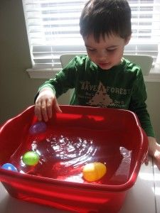 Twist on sink or float activity- put items in plastic eggs. Some of the items that usually sink (rocks) will actually float inside the eggs! Generate great discussions about WHY things sink of float