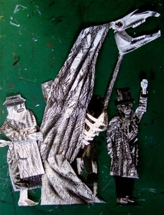 """""""The Mummers Gather"""" maquettes by Clive Hicks-Jenkins for the 2013 production of """"The Mare's Tale"""" part of roll up circus new paper puppet and shadow play theatre love these european puppet styles"""
