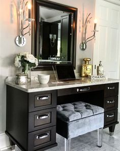 Makeup vanity Sconces are by Kichler in polished chrome… Bathroom Vanity. Makeup vanity Sconces are by Kichler in polished chrome… Bathroom With Makeup Vanity, Vanity Room, Vanity Decor, Vanity Ideas, Makeup Vanities, Vanity Set, Black Makeup Vanity With Drawers, Makeup Vanity With Storage, Black Vanity