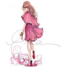 #girl #pink #dress #drawing