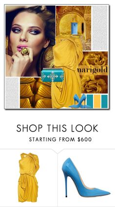"""""""MARIGOLD & TURQUOISE"""" by littlefeather1 ❤ liked on Polyvore featuring Poesia, Lanvin, Jimmy Choo, Oscar de la Renta, topsets, dresses, polyvoreeditorial and marigold"""