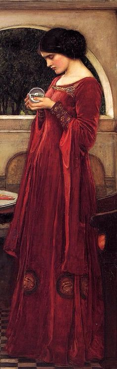 The Crystal Ball, 1902 (cropped)  // John William Waterhouse. The painting shows a young brunette woman in a red dress gazing into the ball, apparently weaving a spell