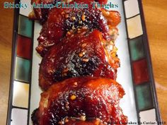 Sticky Asian Chicken Thighs- Sticky, sweet, spicy, salty. I think I about covered all areas of taste buds with this one and oh my gosh, is it ever good!  http://www.fromcupcakestocaviar.com/2013/09/12/sticky-asian-chicken-thighs/