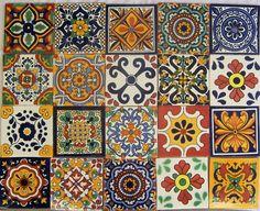"█ 40 Mexican Talavera Tiles Ceramic Mix Patterns 6x6"" | eBay"