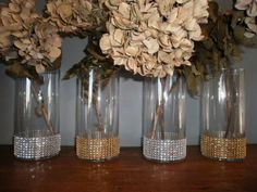 Bridal Party Bouquet Holders Set of (4)  Bling wedding Vases. $22.00, via Etsy.