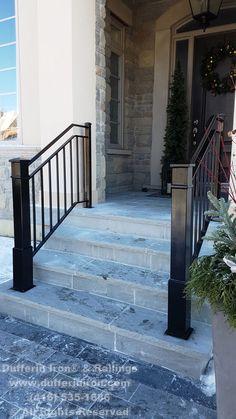 Porch Step Railing, Wrought Iron Porch Railings, Exterior Stair Railing, Front Porch Railings, Outdoor Stair Railing, Front Stairs, Balcony Railing Design, Iron Stair Railing, Porch Steps