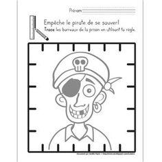 Fichier PDF téléchargeable En noir et blanc seulement 1 page  Les enfants doivent empêcher le pirate de se sauver en traçant les barreaux de la prison en utilisant leur règle.