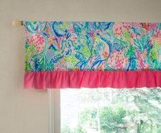 Nursery Window Valance - Flamingo Pink Hot Pink Lime Teal Turquoise Aqua - Made with Mermaid Cove Lilly Pulitzer Fabric ------------------------------------------------------------------- Lined, 45 wide valance with 3 rod pocket, 4 ruffle Girl Nursery, Girl Room, Nursery Ideas, Valences For Windows, Lilly Pulitzer Fabric, Mermaid Cove, Mermaid Bathroom, Kids Rooms, Window Treatments
