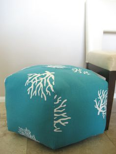 coral floor pouf for an ocean themed nursery - and I love the aqua color!  24 Ottoman Pouf Floor Pillow Turquoise White Coral by aletafae, $95.00
