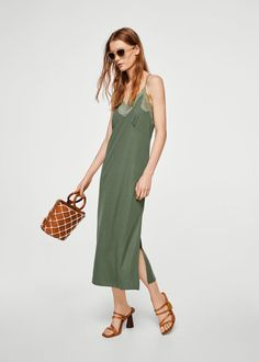 Φόρεμα τύπου lingerie μοντάλ | MANGO ΜΑΝΓΚΟ
