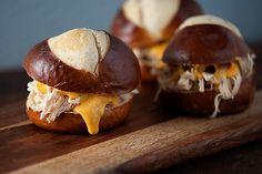 Beer Cheese Chicken Pretzel Sliders - Delish.com