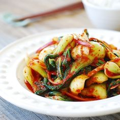 Baby Bok Choy Kimchi Salad - a quick and easy salad-like kimchi made with tender baby bok choy!