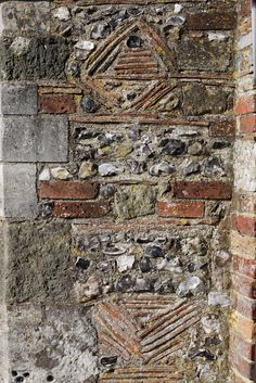 Brick, flint and tile walling Cathedral Close Salisbury