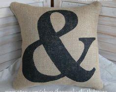 Burlap Ampersand Pillow FREE SHIPPING- Burlap Pillows- Pillow-Decorative Pillow-Burlap Pillow-Contemporary Pillow-Modern Pillow-Ampersand