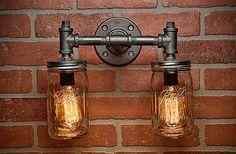 Two Mason Jar Vanity Sconce Light Fixture Industrial Rustic Loft Steampunk. | eBay