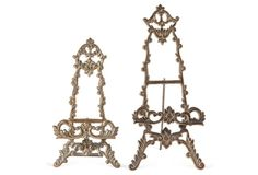 Brass Rococo-Style Easels, Set of 2