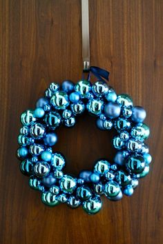 Glass Ball Ornaments Holiday Wreath - classic-could use any color ornaments to match decor-love it! Christmas Door, Christmas Music, Blue Christmas, Christmas Wishes, All Things Christmas, Christmas Holidays, Holiday Wreaths, Holiday Crafts, Holiday Fun