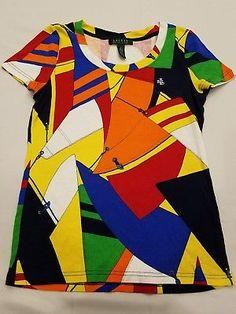 f704b8994db Ralph Lauren S small womens tee sails nautical top Multicolored t shirt boat