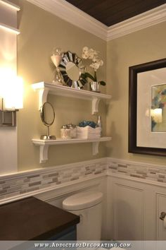 Photographic Gallery Backsplash and molding DIY Bathroom Remodel Before u After